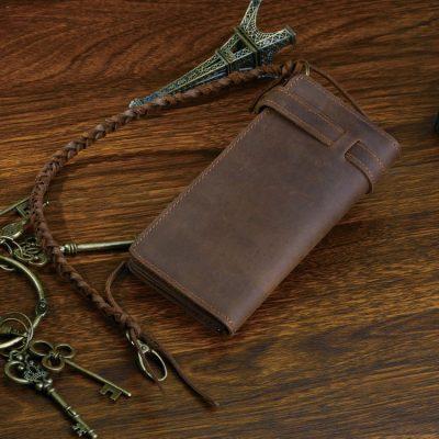 Leather Biker Wallet Card Holder Purse-Back