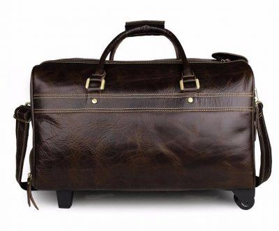 Leather Trolley Duffle Travel Bag-Back