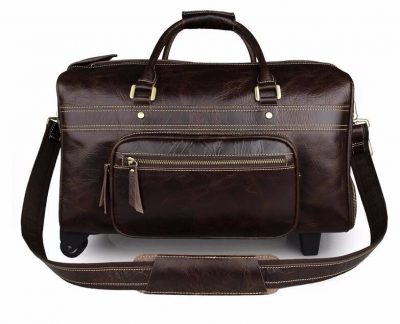 Leather Trolley Duffle Travel Bag-Front