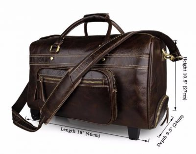 Leather Trolley Duffle Travel Bag-Size