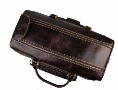 Leather Trolley Duffle Travel Bag-TOP