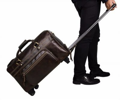 Leather Trolley Duffle Travel Bags