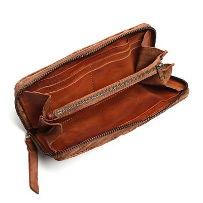 Long Vegetable Tanned Leather Purse-Inside
