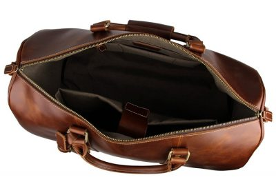 Noble Leather Trolley Travel Bag-Inside