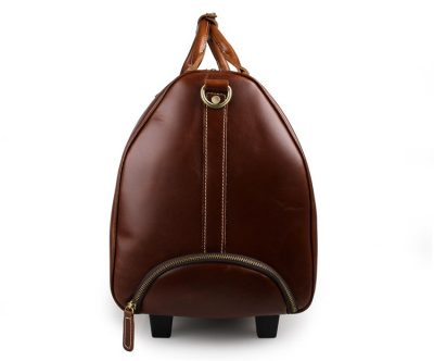 Noble Leather Trolley Travel Bag-Side