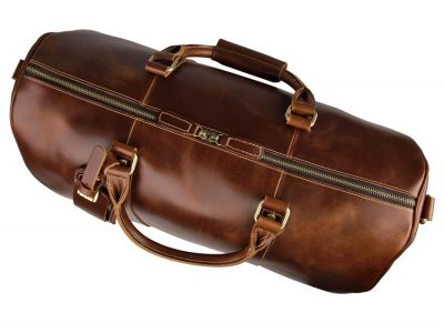 Noble Leather Trolley Travel Bag-Top