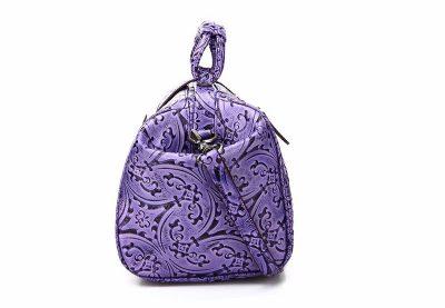 Purple embossed leather handbag-Side