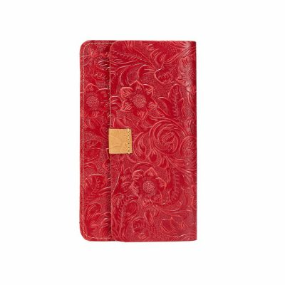 Red Embossed Flowers Long Leather Purse Clutch Coin Purse Card Holder-Left