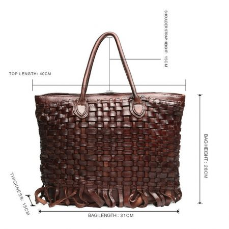 Vegetable Tanned Leather Handbag-Size