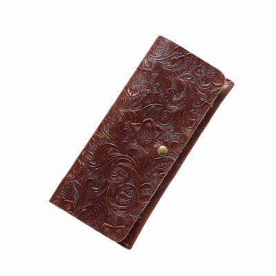 Vintage Embossed Flowers Long Leather Purse Clutch Coin Purse Card Holder