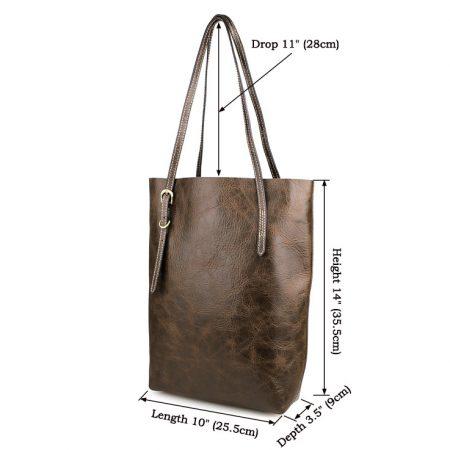Vintage Leather Tote Shoulder Bag-Size