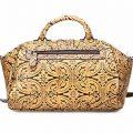 Yellow Embossed Leather Handbag-Back