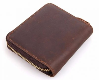 Zipper Around Leather Wallet Leather Coin Pocket-Back