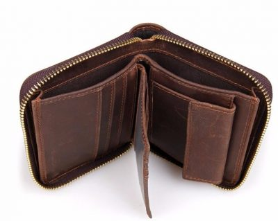 Zipper Around Leather Wallet Leather Coin Pocket-Top