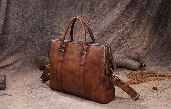 brown businessmen leather briefcase