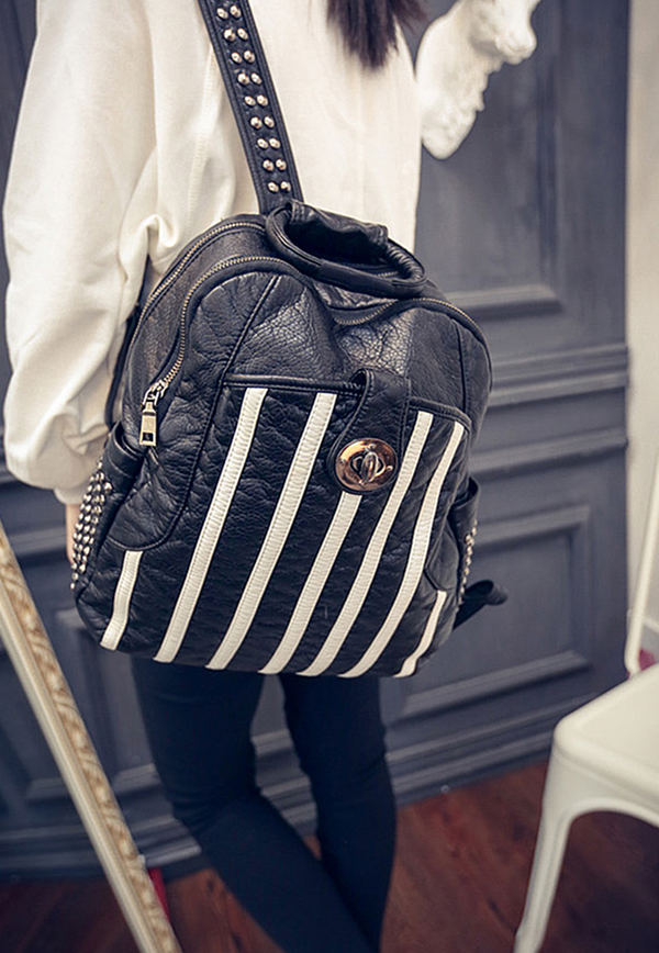 leather backpack in spring