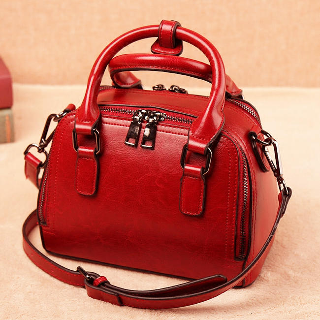 red brucegao leather bag