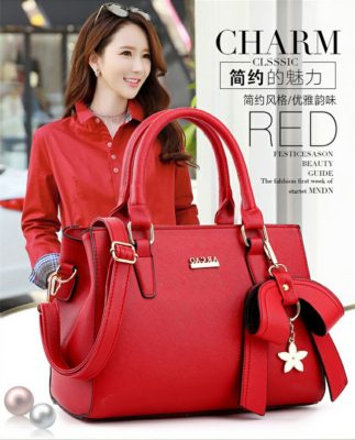 red dress collocation leather bag