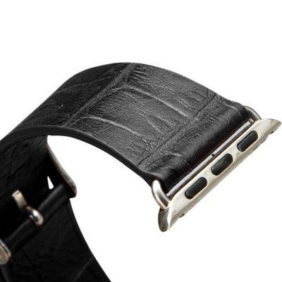 Black Crocodile Pattern Apple Watch Band 38mm 42mm-Details