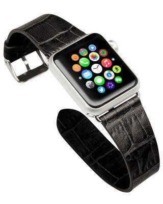 Black Crocodile Pattern Apple Watch Band-Left