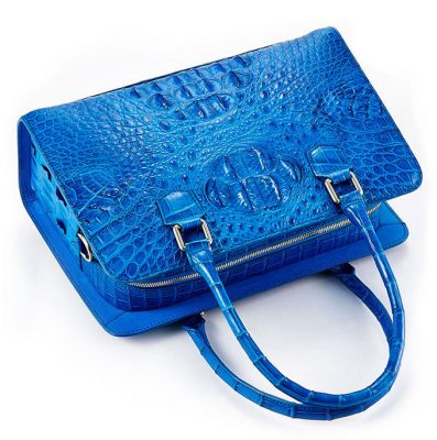 Blue Crocodile Shoulder Bag, Crocodile Handbag-1