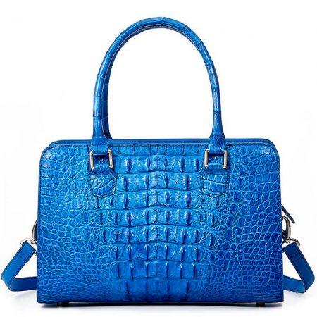 Blue Crocodile Shoulder Bag, Crocodile Handbag-Back