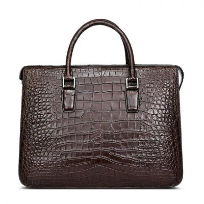 Brown Luxury Crocodile Laptop Bag for Men-Front