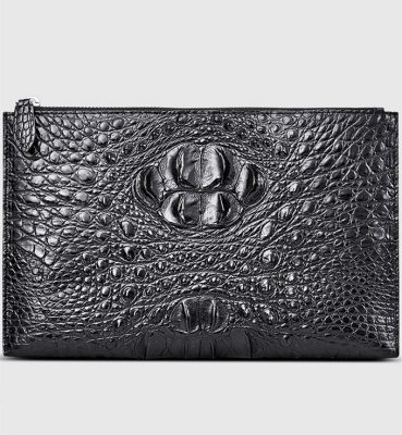 Casual Black Genuine Crocodile Wallet-Front