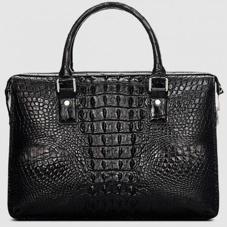 Classic Black Genuine Crocodile Briefcase-Back