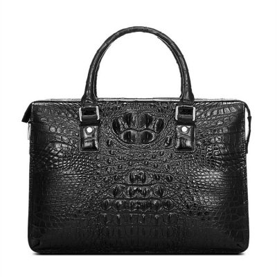 Classic Black Genuine Crocodile Briefcase-Front