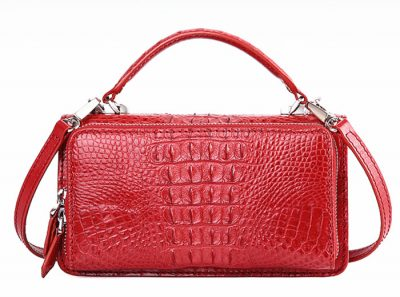 Crocodile Clutch Evening Bag, Handbag, Crossbody Bag-Back
