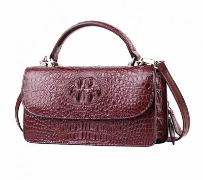 Crocodile Clutch Evening Bag, Handbag, Crossbody Bag-Wine Red