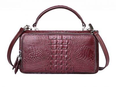 Crocodile Clutch Evening Bag, Handbag, Crossbody Bag-Wine Red-Back