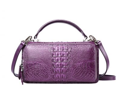 Crocodile Clutch Evening Bag, Handbag, Crossbody Bag-purple-Back