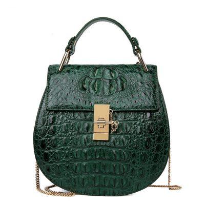 Crocodile Evening Handbag, Crocodile Wrist Bag-Green