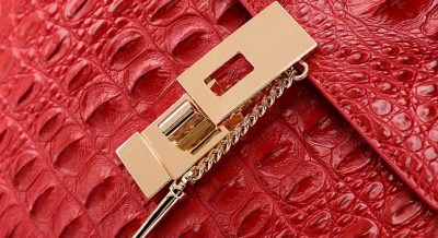 Crocodile Evening Handbag, Crocodile Wrist Bag-Lock