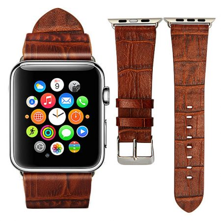 Dark Brown Crocodile Pattern Apple Watch Band-Sample