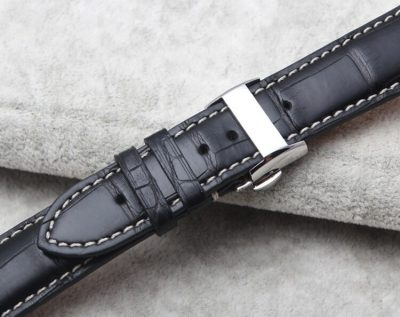 Genuine Alligator Leather Watch Band With Butterfly Buckle-Back