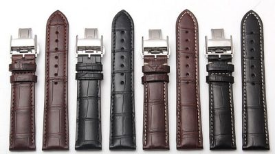 Genuine Alligator Leather Watch Band With Butterfly Buckle-Sample