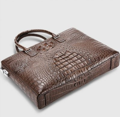 Genuine Brown Crocodile Bag,Crocodile Business Bag for Men-Bottom