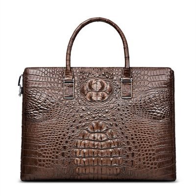 Genuine Brown Crocodile Bag,Crocodile Business Bag for Men-Front