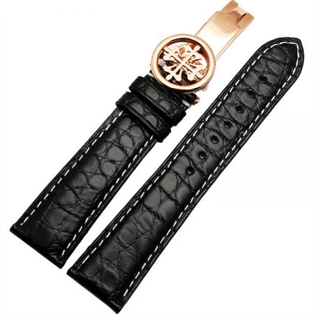 Handmade Genuine Alligator Leather Watch Band-Black