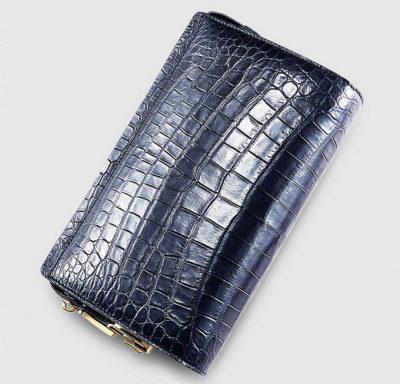 Large Genuine Crocodile Wallet-Blue
