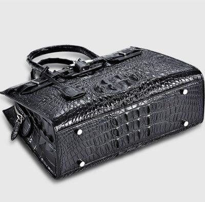 Black Genuine Crocodile Handbag-Bottom