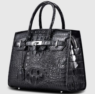 Black Genuine Crocodile Handbag-Left
