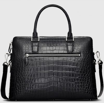 Luxury Crocodile Briefcase, Luxury Crocodile Laptop Bag for Men-Black-Back
