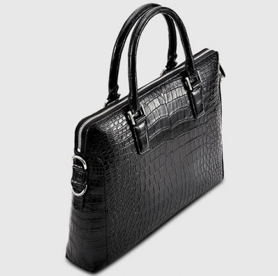Luxury Crocodile Briefcase, Luxury Crocodile Laptop Bag for Men-Black-Left