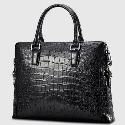 Luxury Crocodile Briefcase, Luxury Crocodile Laptop Bag for Men-Black-Right