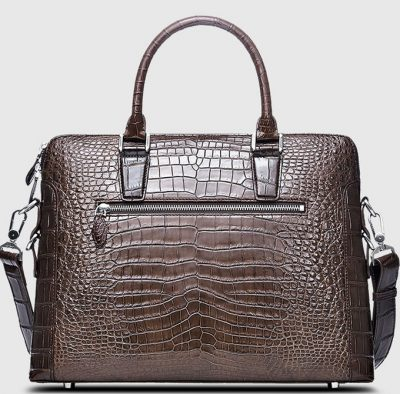 Luxury Crocodile Briefcase, Luxury Crocodile Laptop Bag for Men-Brown-Back