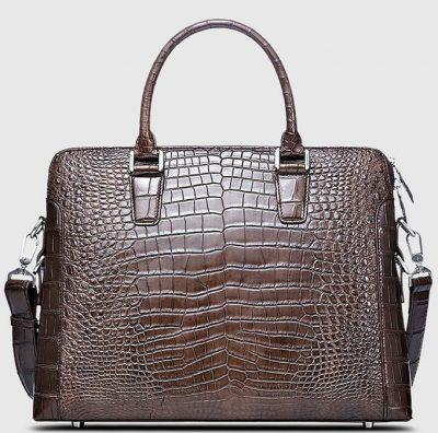 Luxury Crocodile Briefcase, Luxury Crocodile Laptop Bag for Men-Brown-Front
